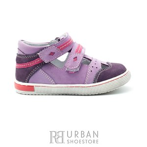 Sandale din piele naturala nabuc si box pentru fete – 120 mov