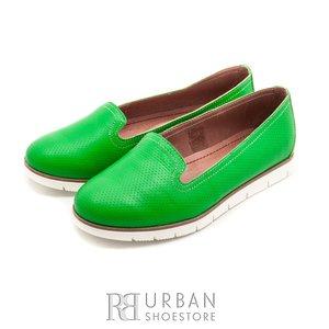 Balerini din piele naturala - 024-B20 verde deschis