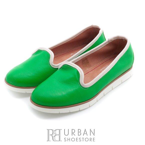Balerini din piele naturala - 024- verde deschis box + gri