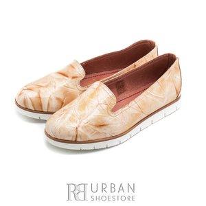 Balerini din piele naturala lacuita - 024-B11 bej maroniu
