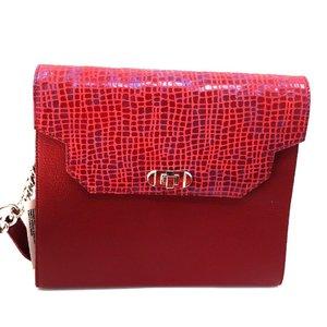 Geanta din piele naturala pentru dame Dayana - Rosu Box Croco
