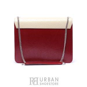 Geanta eleganta din piele naturala Leofex- 583 Rosu Crem