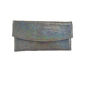 Geanta plic eleganta din piele naturala pentru dame - argintiu multicolor