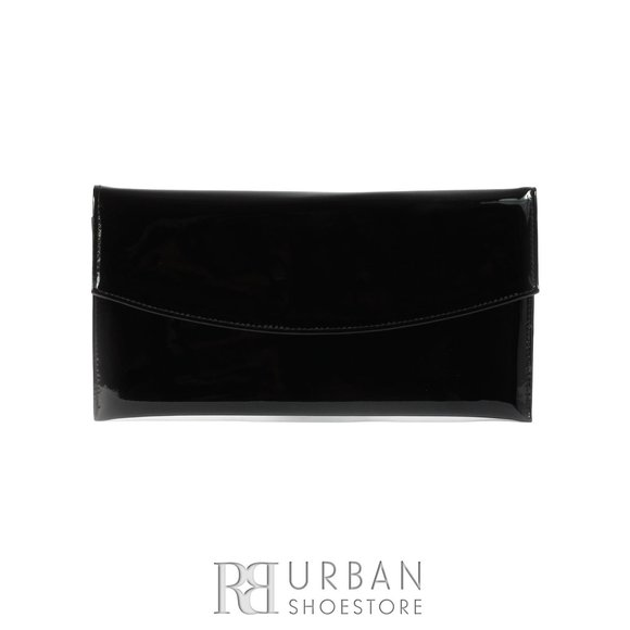 Geanta plic eleganta din piele naturala pentru dame - negru lac