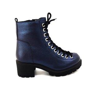 Ghete casual dama din piele naturala cu siret pana in varf Leofex-541 Blue Metalizat