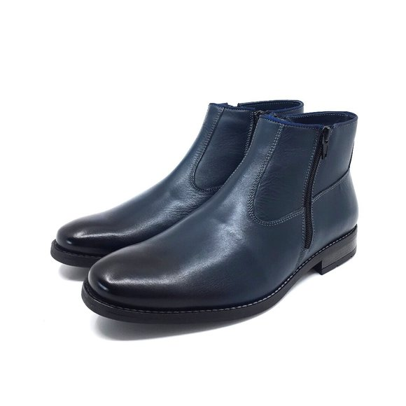 Ghete casual-elegant din piele naturala pentru barbati Leofex - 720 Blue