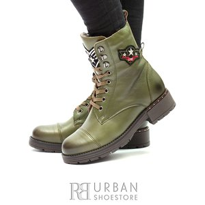 Ghete dama casual-military din piele naturala - 505 Verde Box
