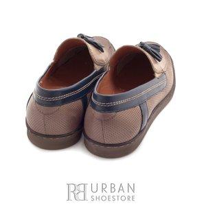 Mocasini din piele naturala - 878-1 taupe-blue