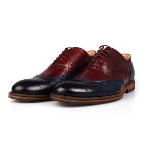 Pantofi barbati casual din piele naturala box Leofex-Mostra Alan Blue cu Visiniu
