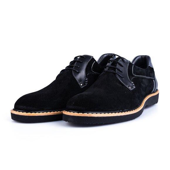 Pantofi barbati casual din piele naturala Leofex- 590-1 Negru Velur