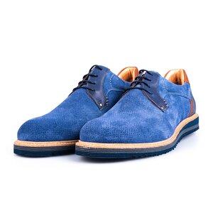 Pantofi barbati casual din piele naturala Leofex- 591 Blue Velur