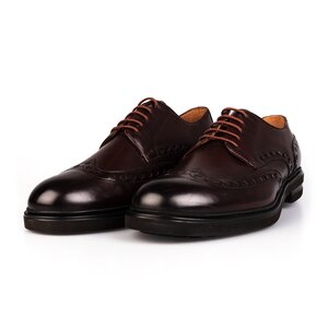Pantofi barbati  casual din piele naturala Leofex-995 Mogano Box