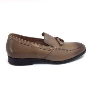 Pantofi barbati eleganti din piele naturala cu ciucuri, Leofex -515 Taupe box