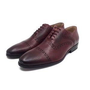Pantofi  barbati eleganti din piele naturala Leofex- 748 Visiniu Box