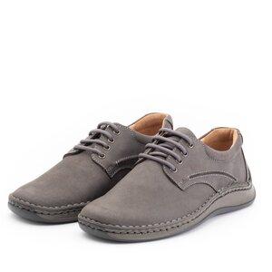 Pantofi casual barbati din piele naturala, Leofex - 918 Gri Nabuc