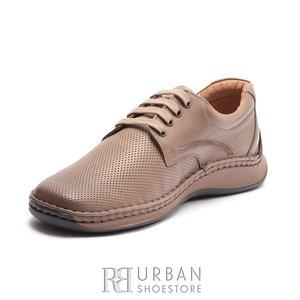 Pantofi casual barbati din piele naturala Leofex - 918 Taupe Box