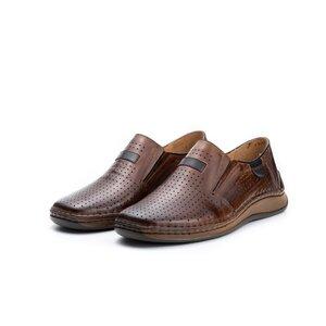 Pantofi casual barbati, perforati din piele naturala,Leofex - 595 Camel Box