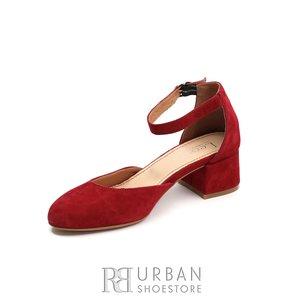 Pantofi casual cu toc dama de piele naturala, Leofex -  221 Rosu Velur