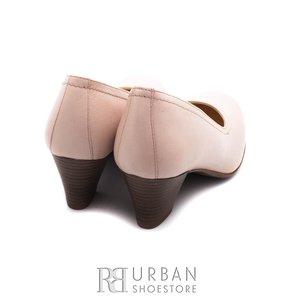 Pantofi casual cu toc dama de piele naturala, Leofex - 422 bej