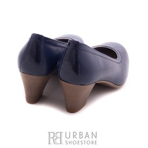 Pantofi casual cu toc dama de piele naturala, Leofex - 422 blue