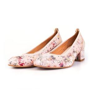 Pantofi casual cu toc dama din piele naturala, Leofex - 231 Nude