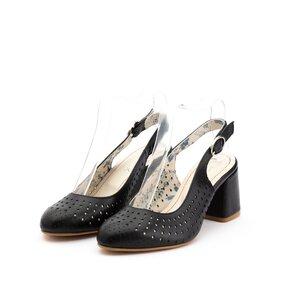 Pantofi casual cu toc dama, perforati si decupati la spate din piele naturala, Leofex - 247 negru  box