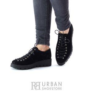 Pantofi casual dama cu siret pana in varf din piele naturala,Leofex- 194 Negru Velur