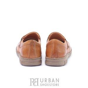 Pantofi casual dama din piele naturala, Leofex - 093 Cognac Box