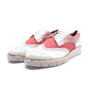 Pantofi casual dama din piele naturala, Leofex - 173 Alb roz cu roz sidef