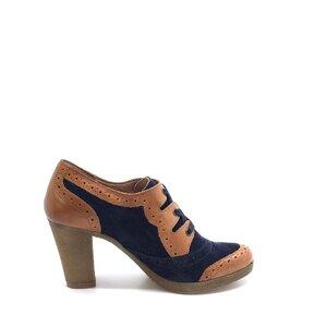 Pantofi casual dama din piele naturala Leofex-484 Cognac Blue Box Velur