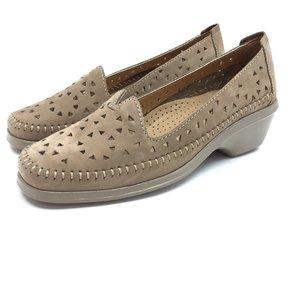 Pantofi casual dama, perforati din piele naturala - B9366 Capuccino Nabuc