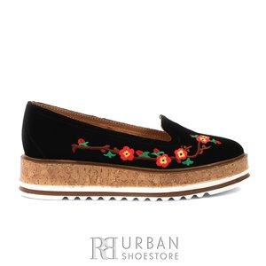 Pantofi casual din piele intoarsa Leofex - 024-2 negru velur