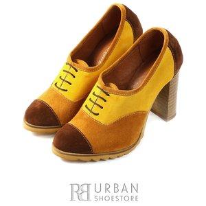Pantofi casual din piele intoarsa - 1001 maro-multicolor