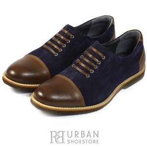 Pantofi casual box si velur - 783 maro-blue