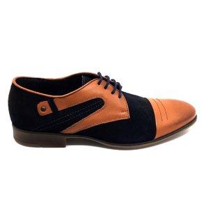 Pantofi casual din piele intoarsa si piele naturala -930  Blue Cognac