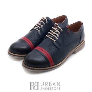 Pantofi casual din piele naturala - 012 bluemarin+rosu