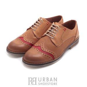 Pantofi casual din piele naturala - 013 crem+rosu