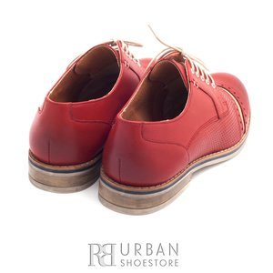 Pantofi casual din piele naturala - 013 rosu+crem