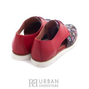 Pantofi casual din piele naturala - 022 rosu floral