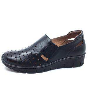 Pantofi casual din piele naturala -  107 negru perforat