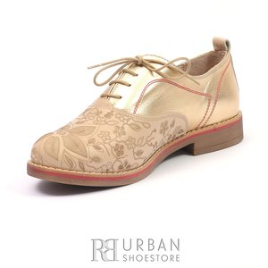 Pantofi casual din piele naturala - 109 bej auriu laser
