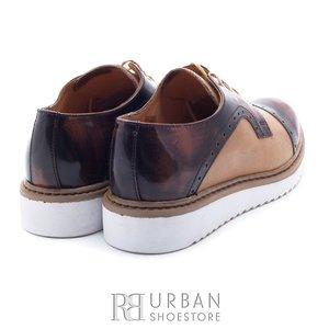 Pantofi casual din piele naturala - 399-1 taupe-maro box