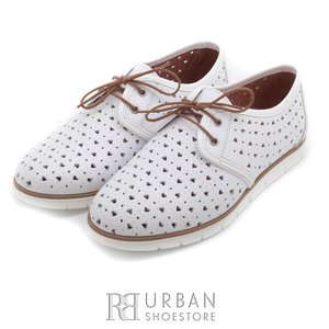 Pantofi casual din piele naturala - 406-1 alb