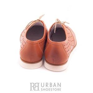 Pantofi casual din piele naturala - 407-1 cognac