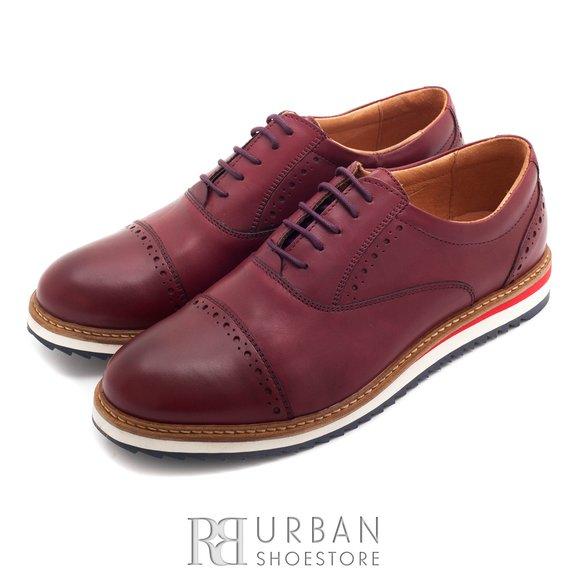 Pantofi casual din piele naturala - 818 visiniu