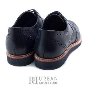 Pantofi casual din piele naturala - 846-1 Blue box