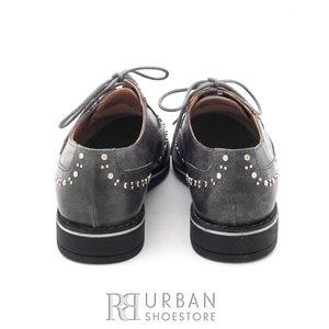Pantofi casual din piele naturala lacuita Leofex- 096 gri