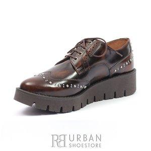 Pantofi casual din piele naturala Leofex - 096 maro florantic