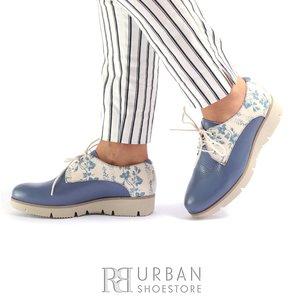 Pantofi casual din piele naturala Leofex- 200 Blue Flori