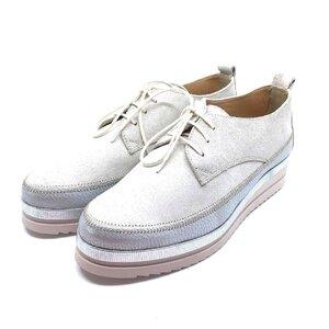 Pantofi casual din piele naturala Leofex - 240 Bej velur + argintiu